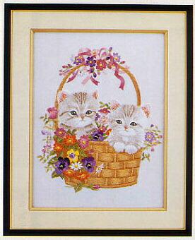 東京文化刺繍キット40「篭の子猫」(3号)