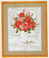 東京文化刺繍キット61「窓辺のばら」(3号)