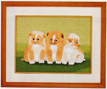 東京文化刺繍キット49「仔犬の兄弟」(3号)