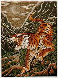 東京文化刺繍キット501「月下の猛虎」(12号)