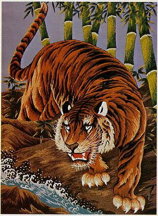 東京文化刺繍キット504「竹林の猛虎」(12号)