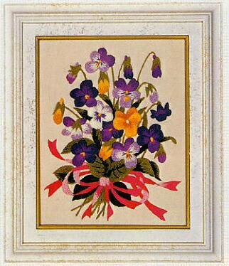 東京文化刺繍キット775「すみれの花束」(1号額付)
