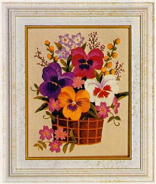 東京文化刺繍キット773「パンジーの花かご」(1号額付)