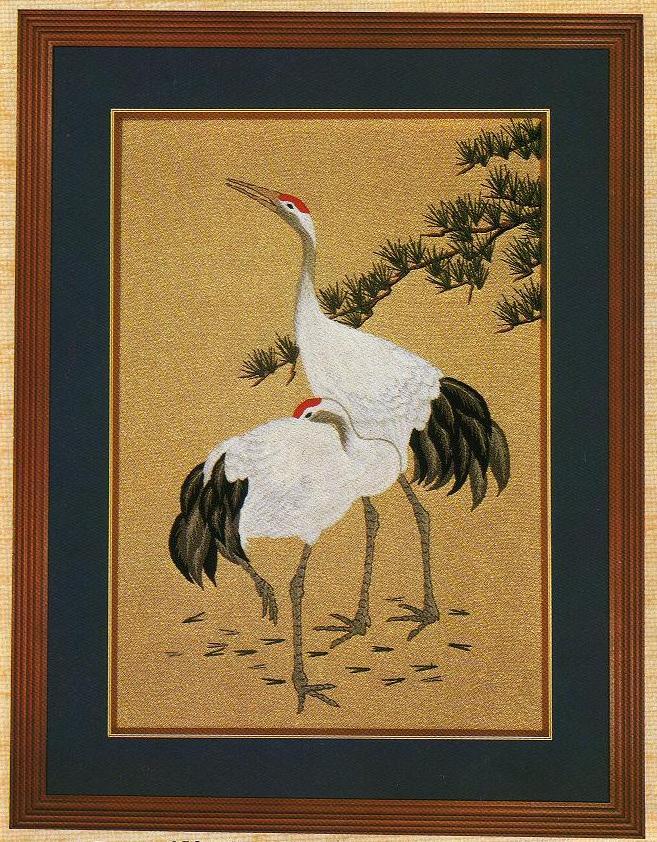 東京文化刺繍キット253「二羽鶴」(6号)