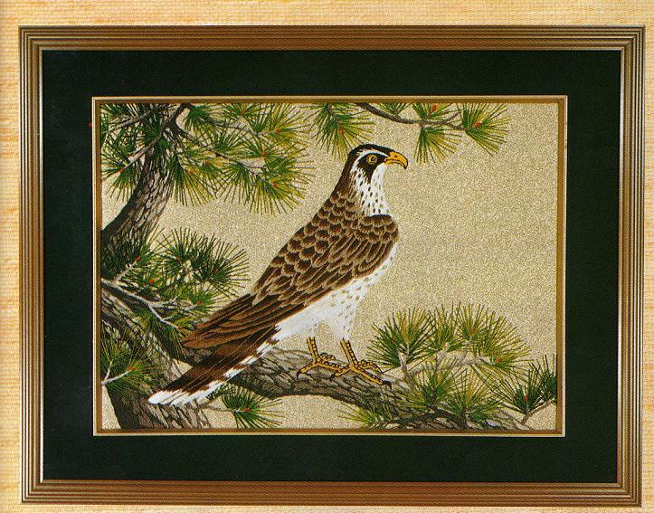東京文化刺繍キット285「松にたか」(6号)
