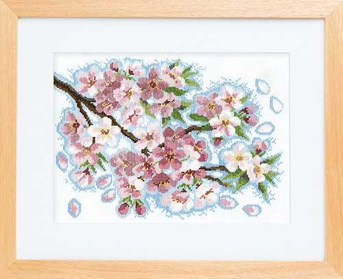 オノエ・メグミ「風に舞う華たち」Olympusクロス刺繍キット7179「桜堤のほとりで」