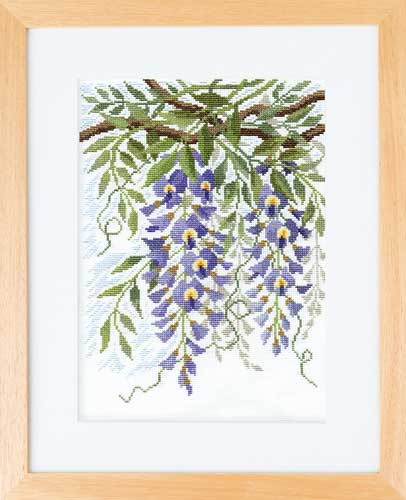 オノエ・メグミ「風に舞う華たち」Olympusクロス刺繍キット7180「藤とふさつる」