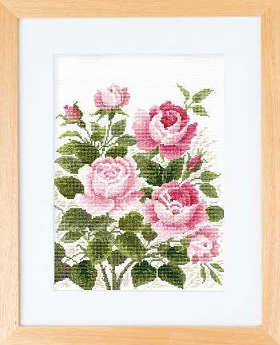 オノエ・メグミ「風に舞う華たち」Olympusクロス刺繍キット7181「朝摘みのバラ」