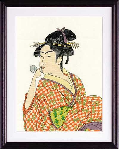 喜多川歌麿 画Olympusクロス刺繍キット7185「ポペンを吹く女」