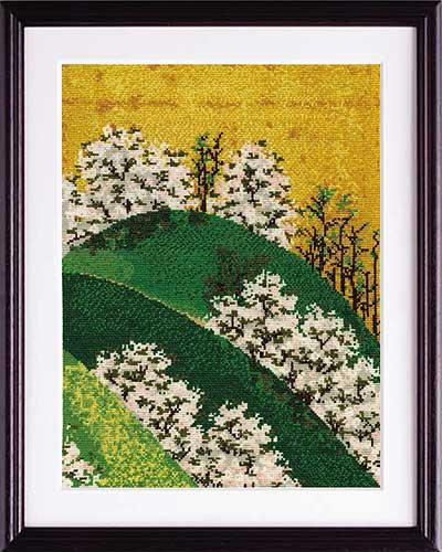 渡辺始興 画Olympusクロス刺繍キット7187「吉野山図屏風」
