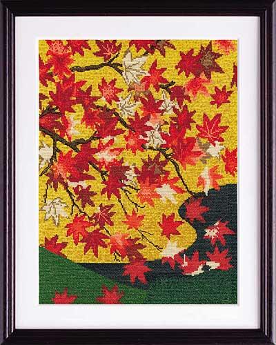 狩野常信 画Olympusクロス刺繍キット7189「吉野龍田図屏風」