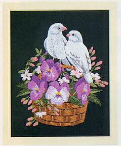 東京文化刺繍キット711「スミレと小鳥」(1号額付)