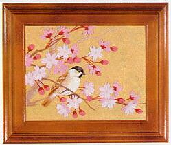 東京文化刺繍キット701「桜と小鳥」(1号額付)