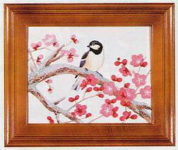 東京文化刺繍キット702「小鳥と梅」(1号額付)