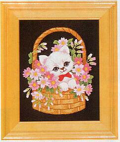 東京文化刺繍キット703「子ねこちゃん」(1号額付)