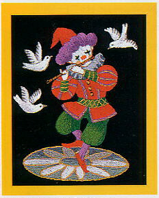 東京文化刺繍キット717「笛吹くピエロ」(1号額付)