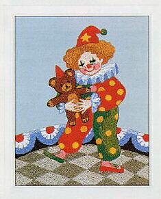 東京文化刺繍キット718「哀しいピエロ」(1号額付)