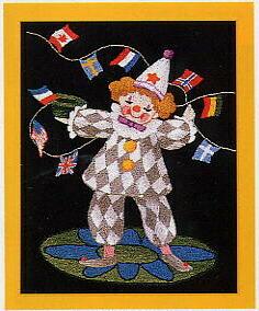 東京文化刺繍キット719「万国旗とピエロ」(1号額付)