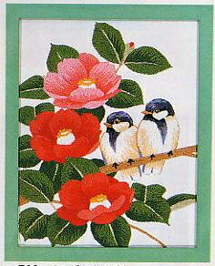 東京文化刺繍キット766「つばきと小鳥」(1号額付)