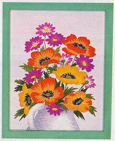 東京文化刺繍キット767「ポピーとこぎく」(1号額付)