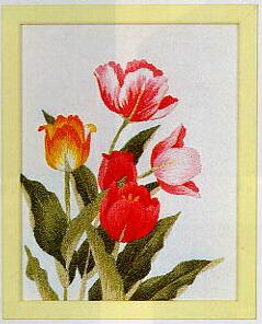 東京文化刺繍キット742「チューリップ」(1号額付)