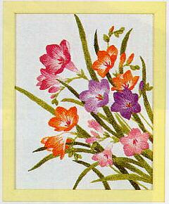 東京文化刺繍キット743「フリージア」(1号額付)