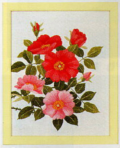 東京文化刺繍キット744「野バラ」(1号額付)