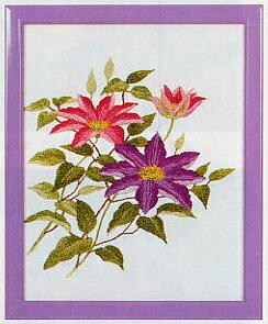 東京文化刺繍キット746「クレマチス」(1号額付)
