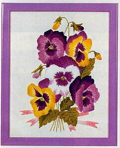 東京文化刺繍キット747「パンジー」(1号額付)