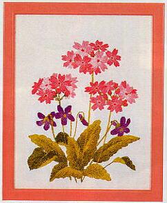 東京文化刺繍キット748「さくら草」(1号額付)