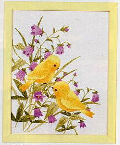 東京文化刺繍キット749「つりがね草と小鳥」(1号額付)
