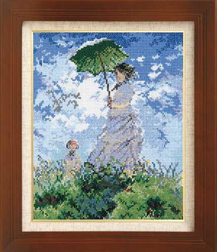 Olympusクロス刺繍キット7215「日傘をさす女」(モネ作)