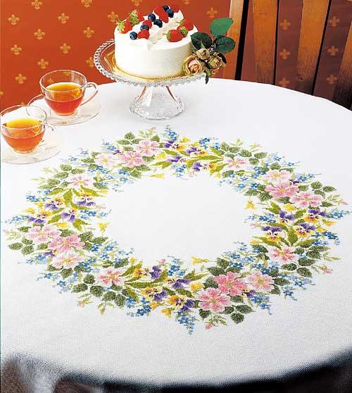 Olympusクロス刺繍キット1187「ワイルドローズのテーブルクロス」