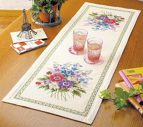 Olympusクロス刺繍キット1188「アネモネのテーブルクロス」