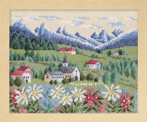 オノエ・メグミのフラワーガーデン 〜花の咲く風景〜Olympusクロス刺繍キット7309「アルプス」 (ベージュ)