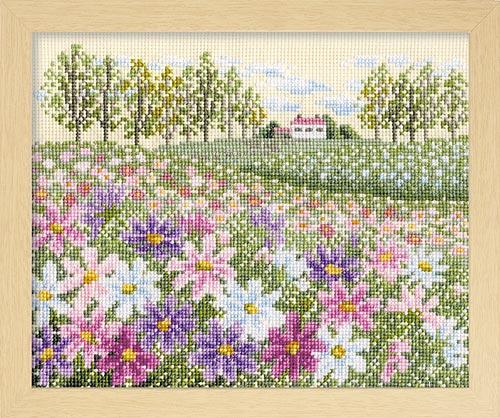オノエ・メグミのフラワーガーデン 〜花の咲く風景〜Olympusクロス刺繍キット7310「コスモスの丘」 (ベージュ)