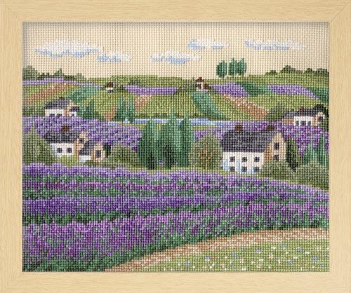 オノエ・メグミのフラワーガーデン 〜花の咲く風景〜Olympusクロス刺繍キット7311「ラベンダー畑」 (ベージュ)