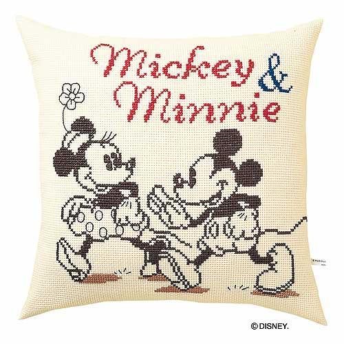 Olympusクロス刺繍キット5883「ミッキー&ミニー」 ディズニー クッション 40cm角