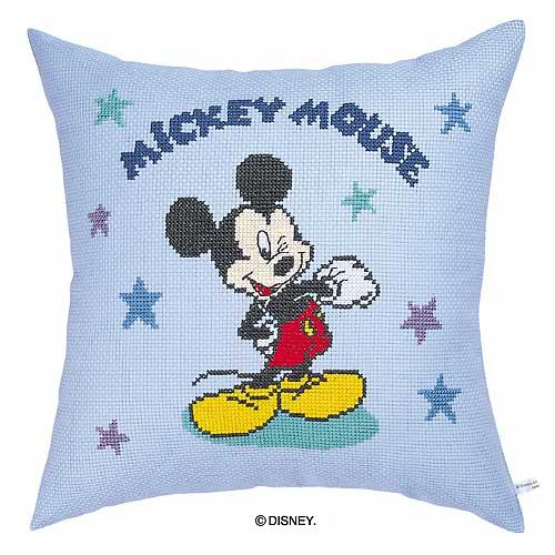 Olympusクロス刺繍キット5994「ミッキーマウス・星」 ディズニー クッション 40cm角 MICKEY MOUSE , cDisney