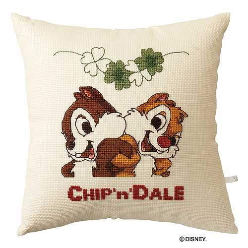 Olympusクロス刺繍キット6035「チップ&デール」 ディズニー クッション 40cm角 CHIP 'n' DALE , cDisney