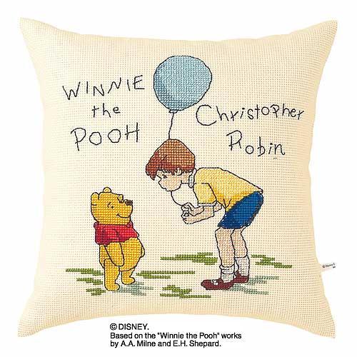 Olympusクロス刺繍キット5921「プー&クリストファーロビン」 ディズニー クッション 40cm角 Winnie the Pooh