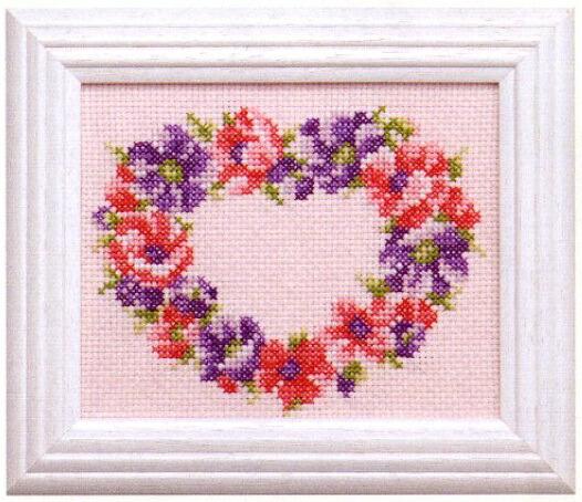 Cosmoクロスステッチ刺繍キット7822「アネモネ」(2月) コスモ ルシアン Lecien anemone 四季を彩る花ごよみの贈り物