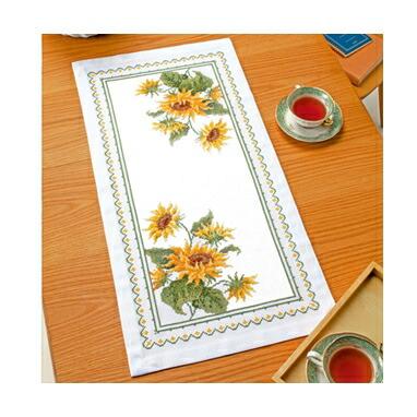 Olympusクロスステッチ刺繍キット1196 「テーブルセンター・サンフラワー」 オリムパス オノエ・メグミの美しい花たち Sunflower  ヒマワリ