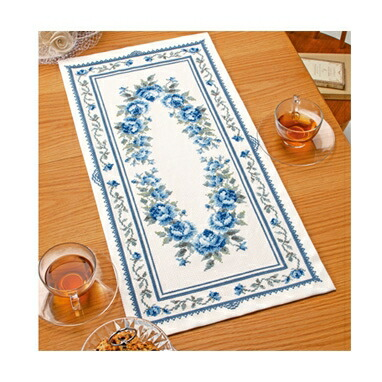 Olympusクロスステッチ刺繍キット1197 「テーブルセンター・ブルーローズ」 オリムパス オノエ・メグミの美しい花たち Blue Rose バラ