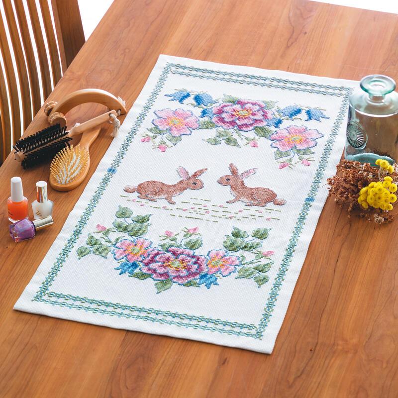 Olympusクロスステッチ刺繍キット 1201 「カサブランカと蝶」 オリムパス 花咲く庭の小さな物語