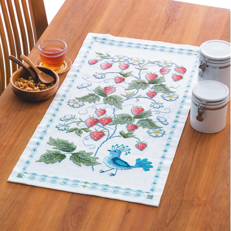 Olympusクロスステッチ刺繍キット 1203 「ワイルドストロベリーと鳥」 オリムパス 花咲く庭の小さな物語