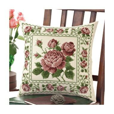 Olympusクロスステッチ刺繍キット6051 「アンティークローズ」 クッション40×40cm オリムパス オノエ・メグミの花のある暮らし 薔薇 バラ ばら Rose