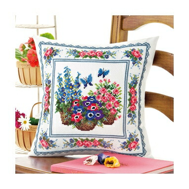 Olympusクロスステッチ刺繍キット6052 「スプリングガーデン」 クッション40×40cm オリムパス オノエ・メグミの花のある暮らし