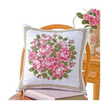 Olympusクロスステッチ刺繍キット6054 「スウィートローズ」 クッション40×40cm オリムパス オノエ・メグミの美しい花たち ばら 薔薇 バラ