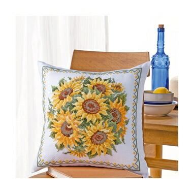 Olympusクロスステッチ刺繍キット6055 「サンフラワーラウンドブーケ」 クッション40×40cm オリムパス オノエ・メグミの美しい花たち ヒマワリ